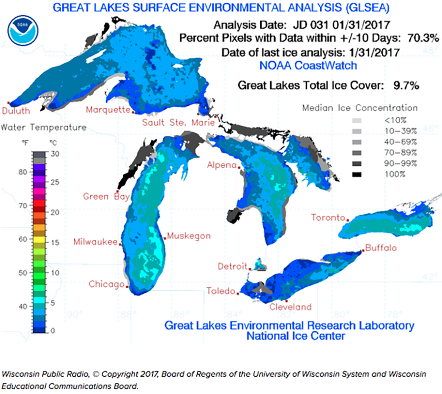 Great Lakes mostly open water this winter