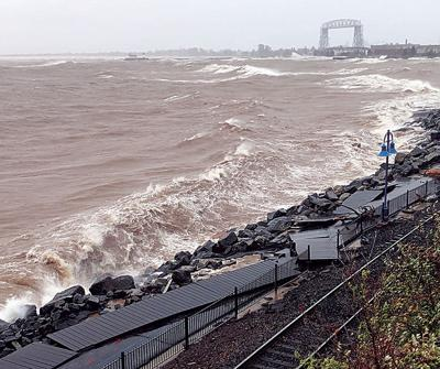 Rain, wind add to Duluth waterfront damage