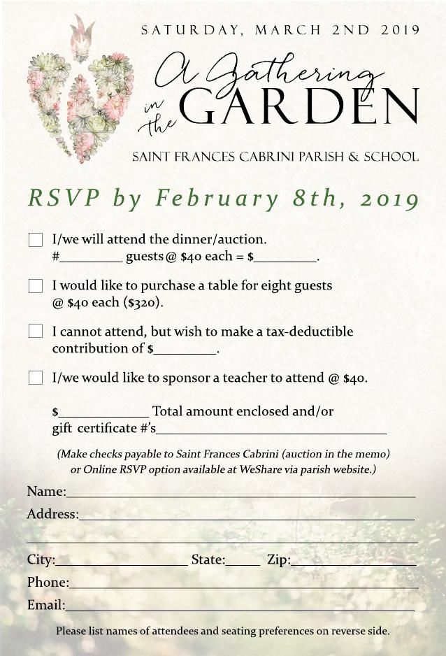 RSVP card - front of card (2019)