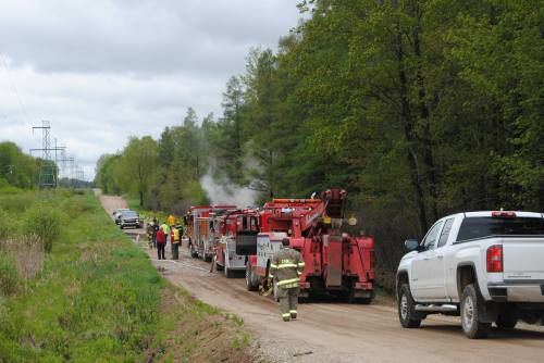 Off Road Fire Truck >> Cadillac Garbage Truck Catches Fire After Going Off Road