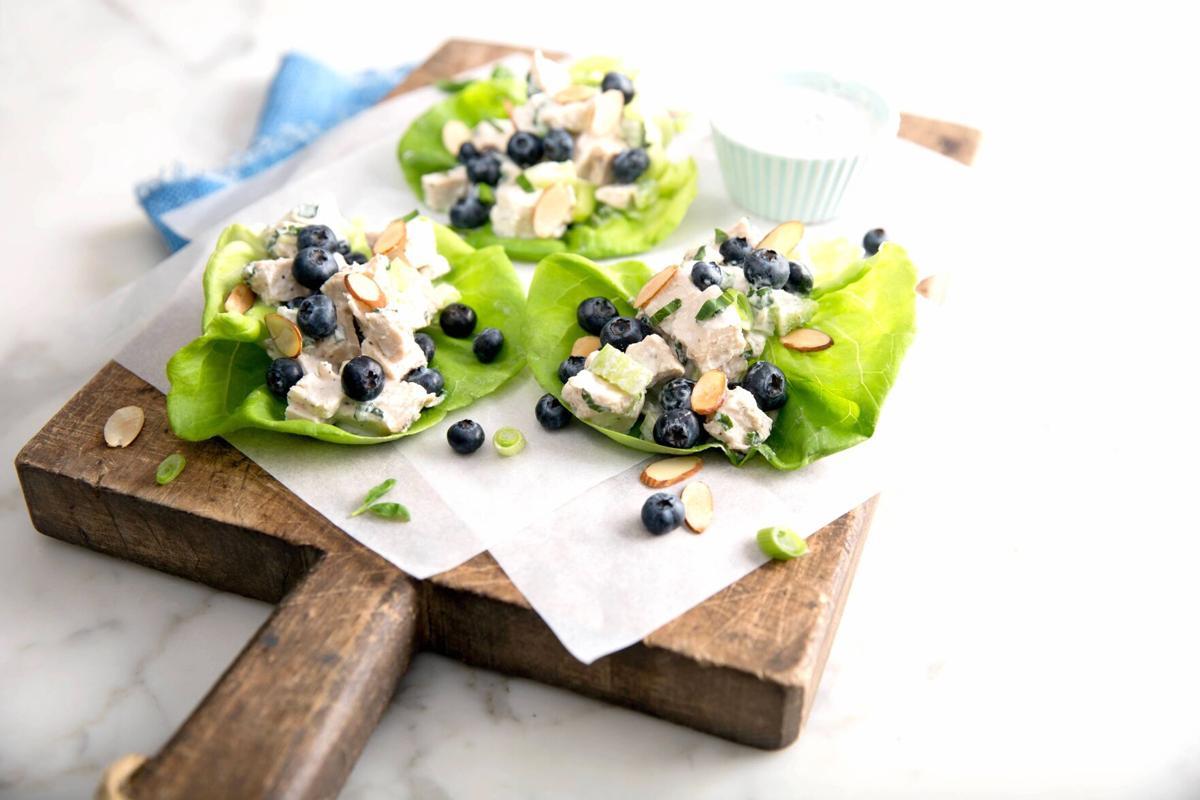 Blueberry almond chicken salad lettuce wrap