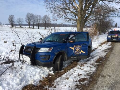 MSP trooper suffers minor injuries after suspect rams car near McBain; search for individual ongoing