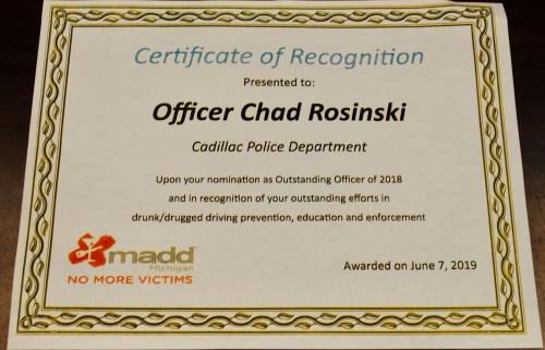 Cadillac officer honored for efforts to get drunken drivers off streets