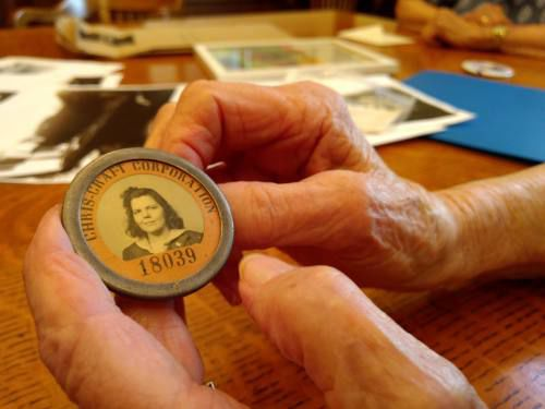 This Image depicts Ruth Samuelson's employee badge at the Chris-Craft Plant.
