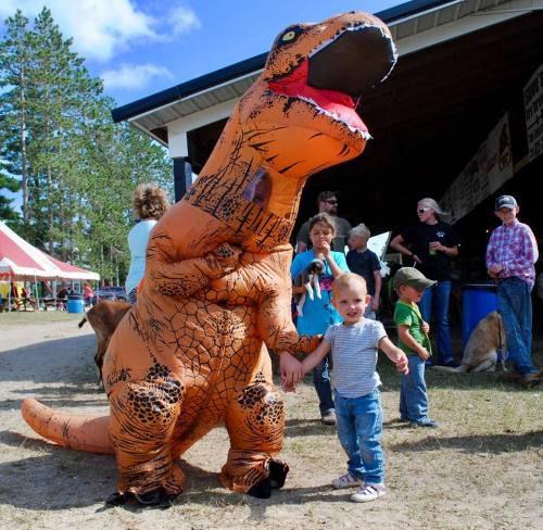 Dinosaur and goats part of Falmouth pet parade