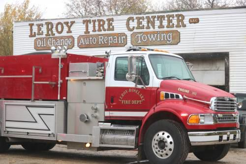 LeRoy area fire department respond to call at LeRoy Tire Center