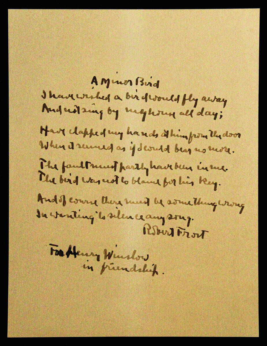 Handwritten Robert Frost Poem Discovered In Academy Archives