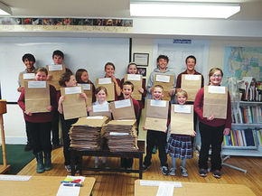 Caledonia Christian students purchase items for Thanksgiving bags