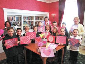 Good Shepherd students make Valentine cards for seniors