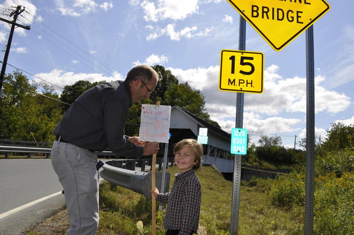 LyndonPreschooler Pens Safety Sign For Covered Bridge