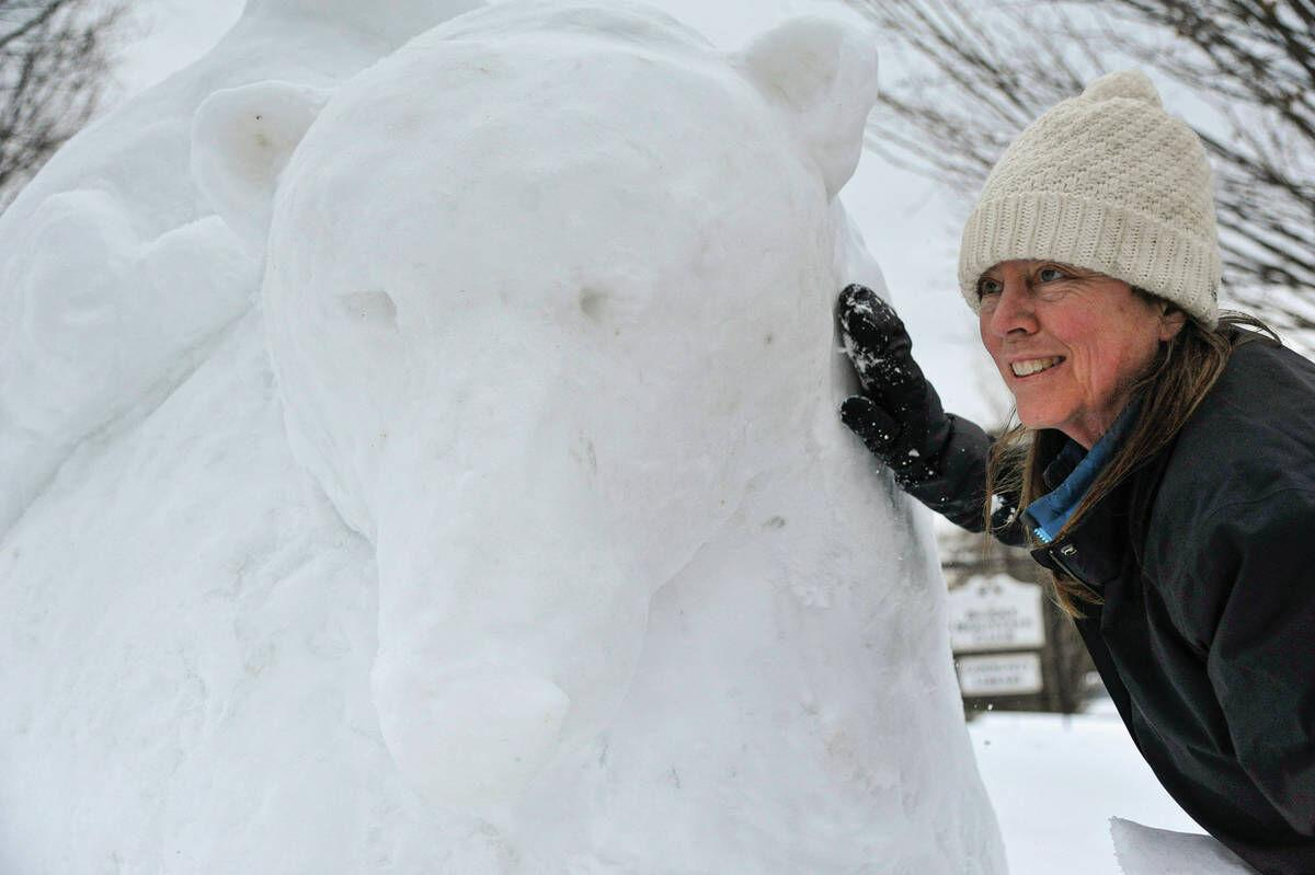 Shifting From Sand To Snow, Sculptor Building Bears In Burke