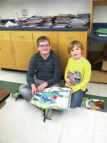 Reading buddies at Miller's Run School