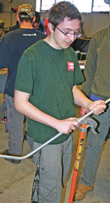 Max Martel competes in LRCC pipe bending competition