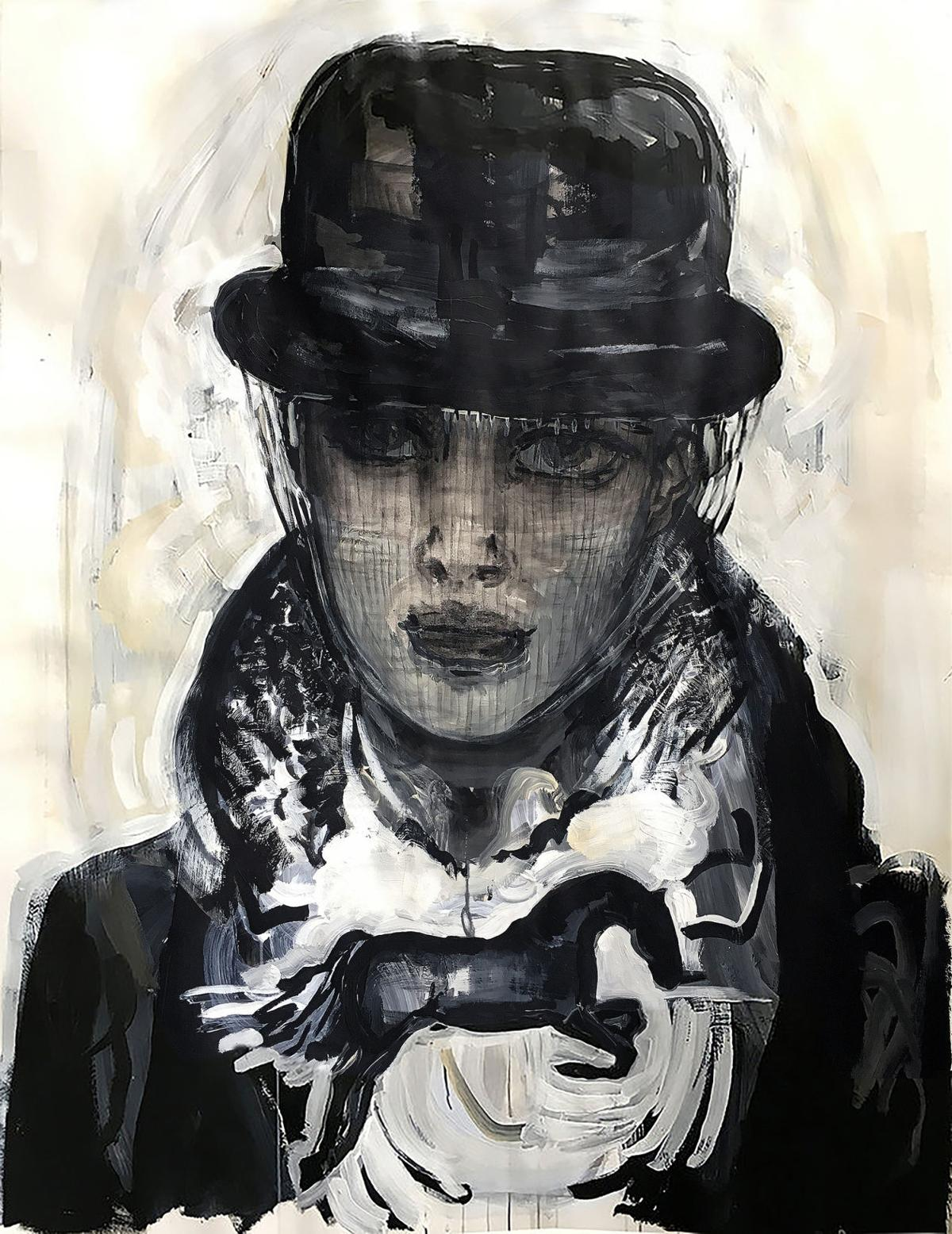 """Suzy Spence, """"BOWLER WIDOW."""" 2018. flashe on paper. 36x50 inches."""