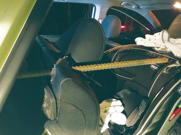 Rebar Spears Car On I89, Punctures Occupied Child Car Seat