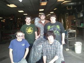 LI Welding students make a Blue Heron for history teacher