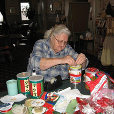 Senior Center Decorating Cans For Cookie Walk