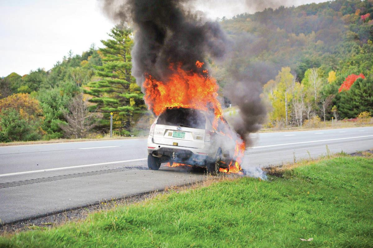 Flames Consume Subaru On Interstate 91 In Barnet