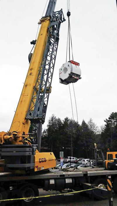 Crane Lowers Magnet For New MRI Into Place At NVRH