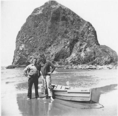 Dory fishermen near Haystack Rock
