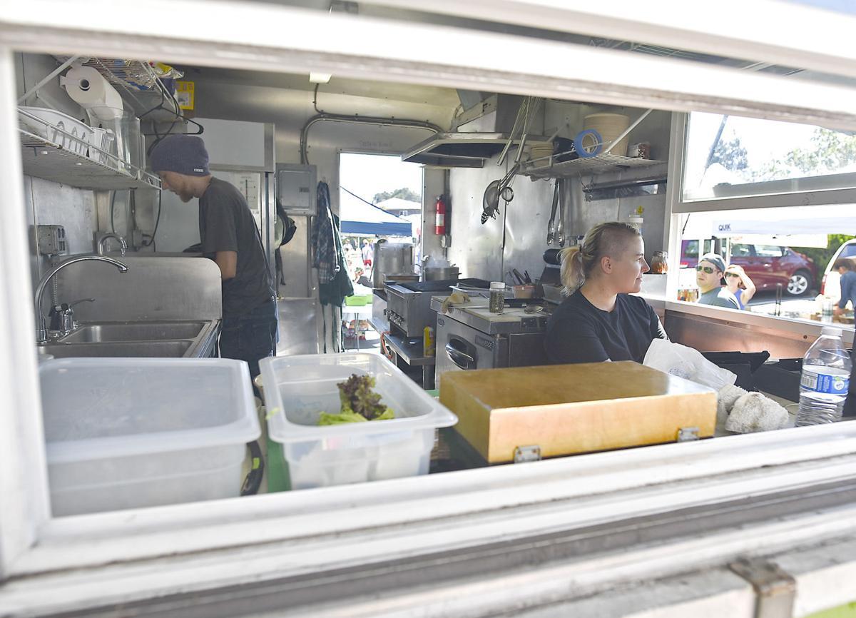 Vendors at a food truck