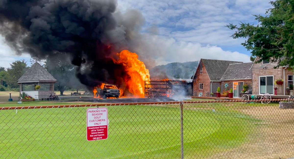 Utility shed fire