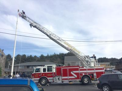Fire department teams up to repair flagpole