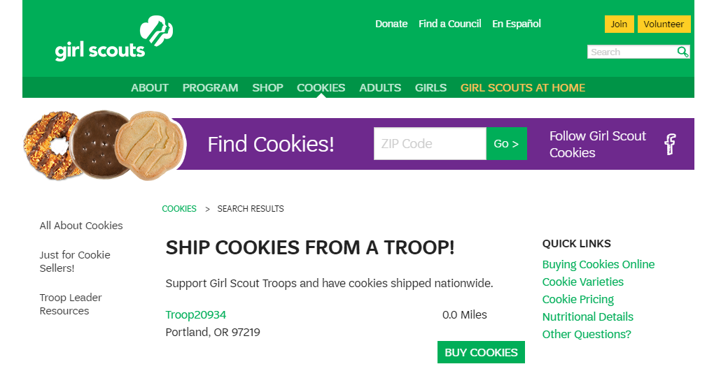 Online Girl Scout Cookie