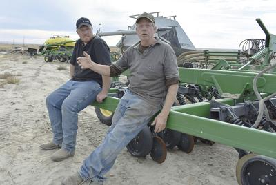 Dryland wheat farmers Mike and Cody Nichols