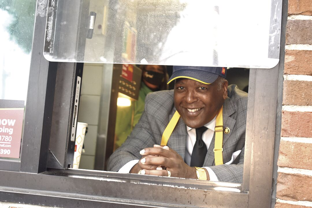 Mayor at McDonalds window