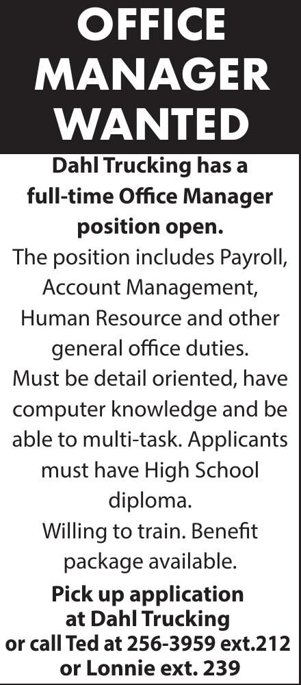 Dahls-office mgr wanted