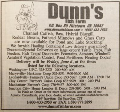 10 YEARS AGO ON JUNE 1: (AD): Dunn's Fish Farm to deliver