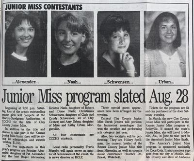 20 YEARS AGO ON AUGUST 24: Junior Miss candidates selected | |  ccenterdispatch.com