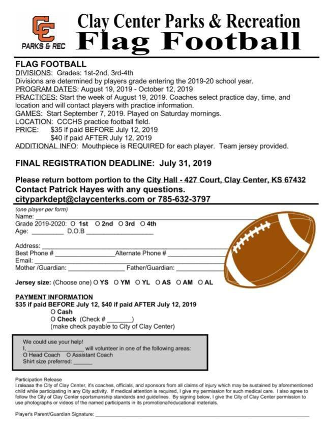 2019 Flag football signup form
