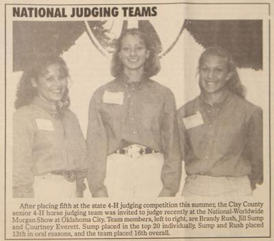 20 Years Ago On October 15 Horse Judging Team Goes To Nationals