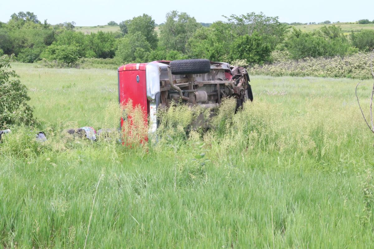 Truck on its side