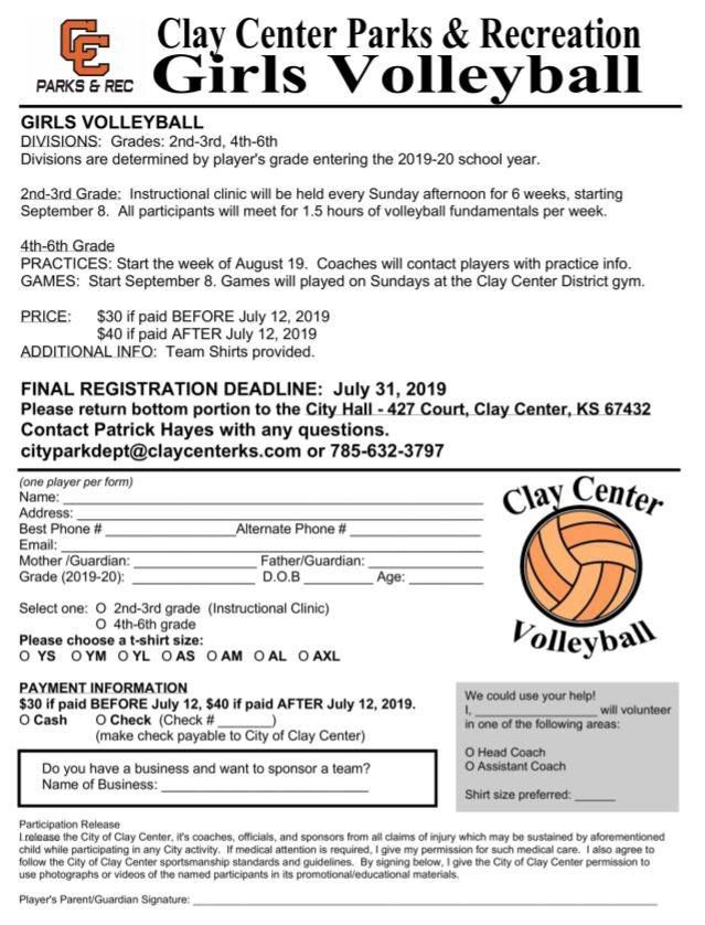 2019 youth volleyball signup form