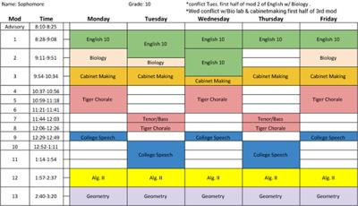 Flex Mod schedule sample