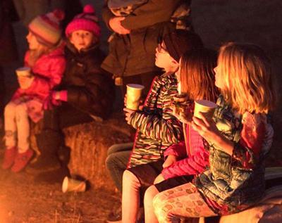Kids around the fire
