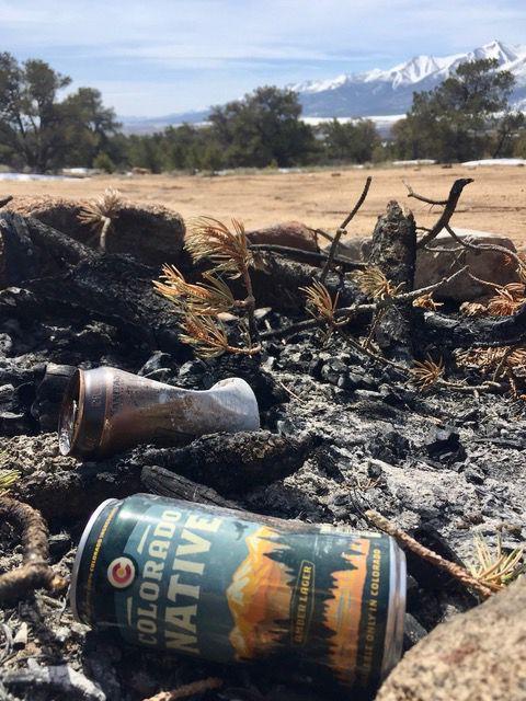 Trash in camp fire pit
