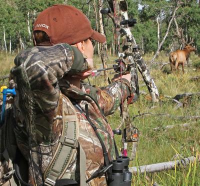 A hunter draws down on an elk