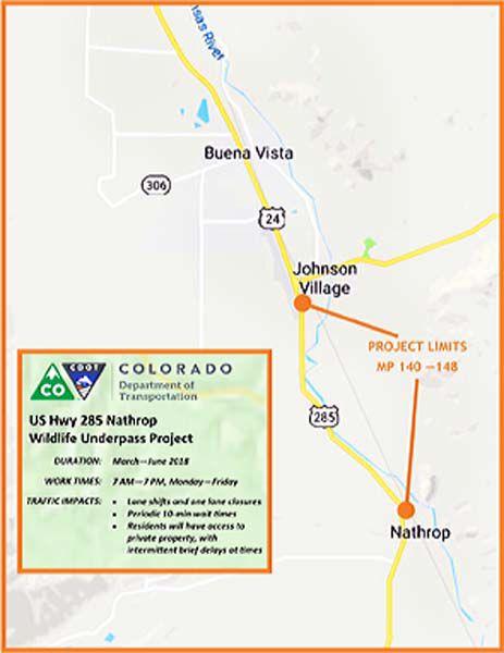 Hwy 285 Colorado Map.Cdot Wildlife Underpass Graphic Chaffeecountytimes Com