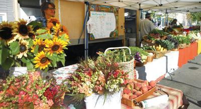 Bright and bold colors of the BV Farmers Market booth