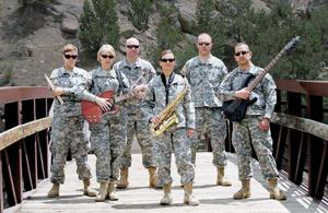 <p>The 101st Army Rock Band poses last summer before playing at the Greeley Family FunPlex Concert Series. Who else thought that was the Whipple Bridge at the Buena Vista River Park?</p>