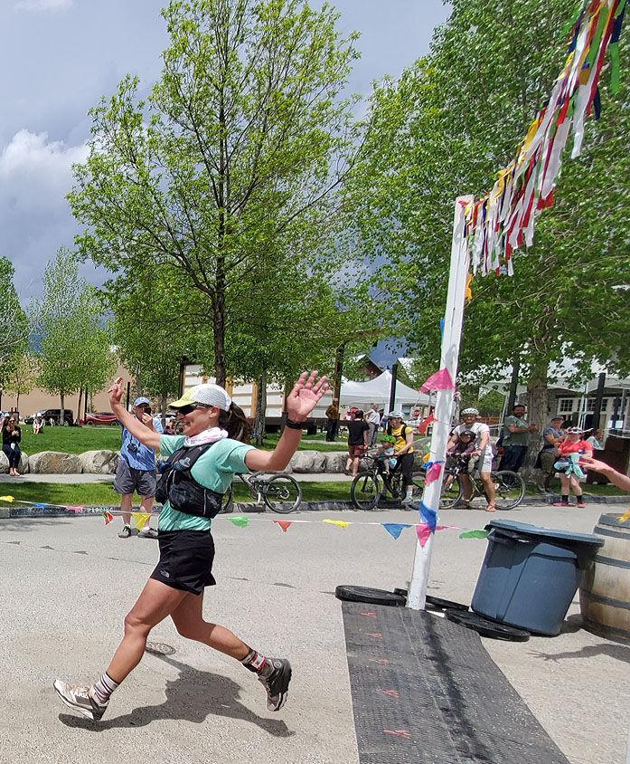 Raquel Harper crosses the finish line
