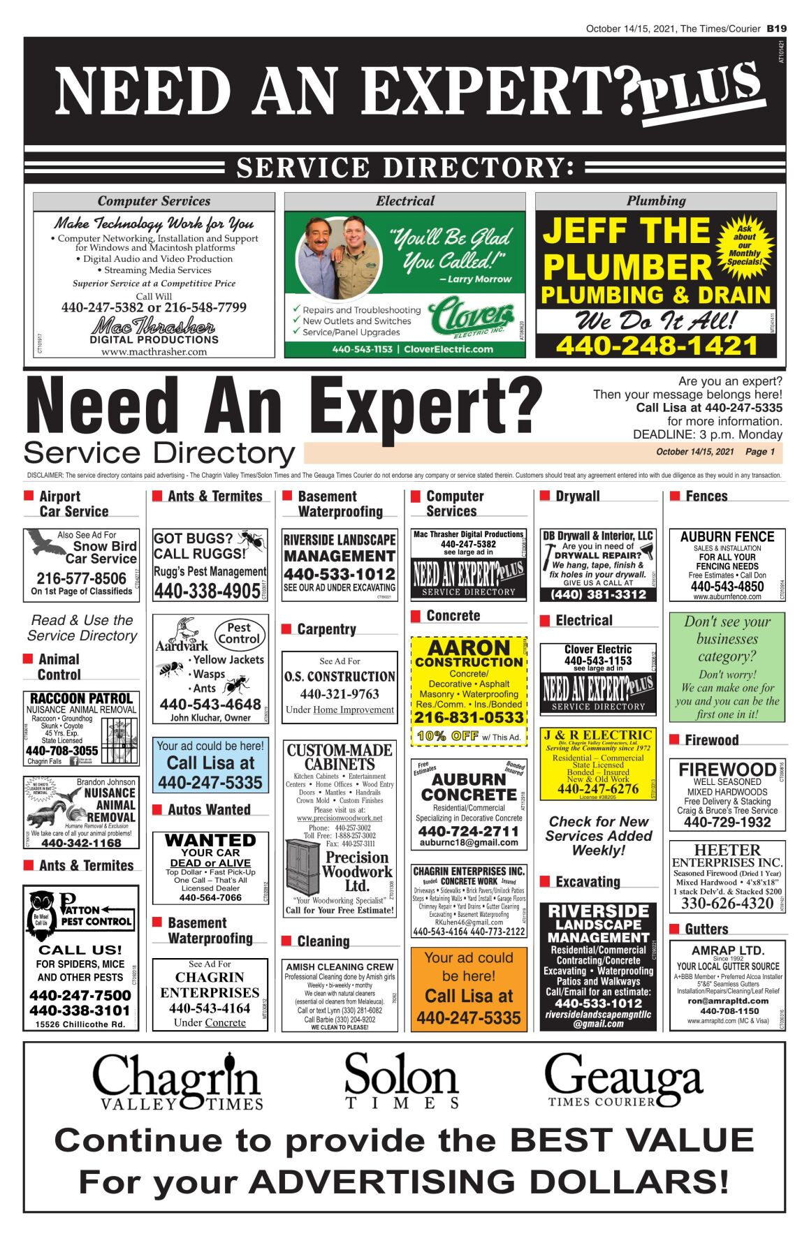 Need an Expert page 1 (Oct 14)