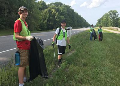Students clean up road