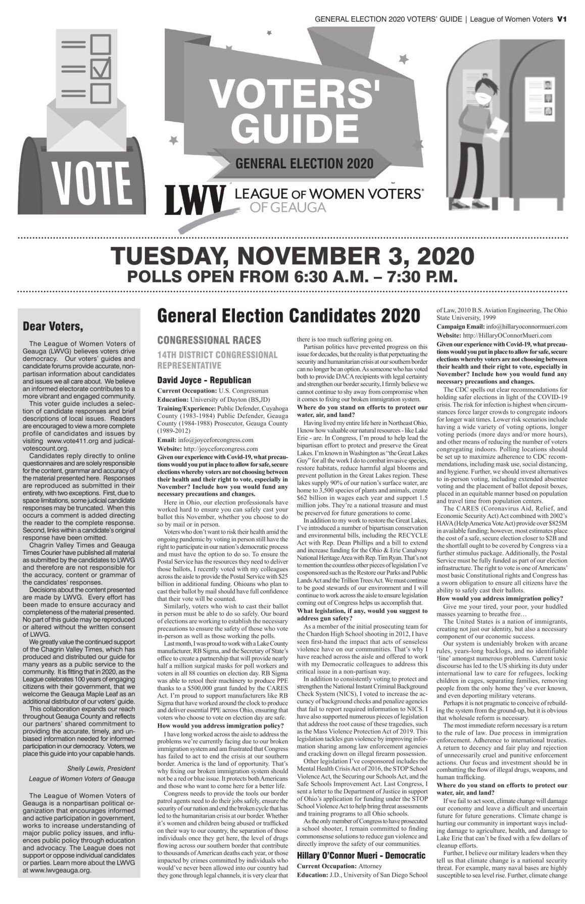 LWV Voters' Guide – General Election 2020