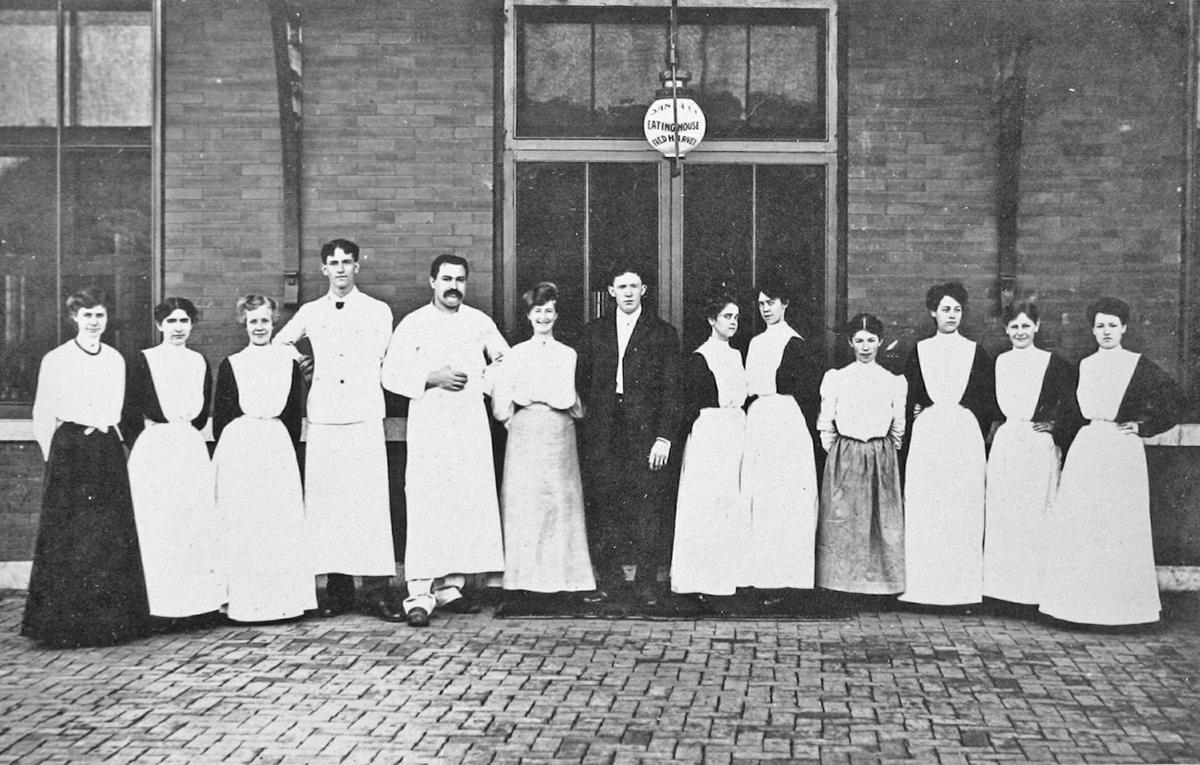 1906 staff photo at the Chanute Harvey House Restaurant.