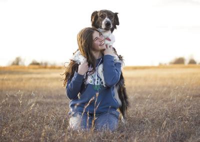 Megan Kueser with April on her back.